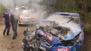Екипаж се размина невредим след жестока катастрофа на рали Австралия (видео)