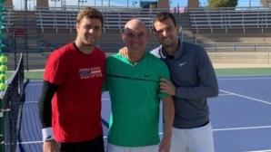 Григор Димитров тренира с Агаси и Харисън в Лас Вегас (снимки)