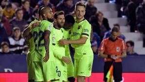 Леванте - Барселона 0:4, Меси с хеттрик и асистенция, следете мача тук