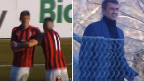 Синът на Паоло Малдини бележи за Милан пред погледа на легендарния си баща (видео)