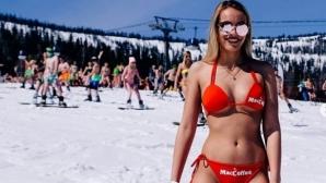 Разголени красавици атакуваха ски писта в Русия (снимки)