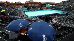 В Лондон продължава да вали, мачът на Григор е под сериозна въпросителна