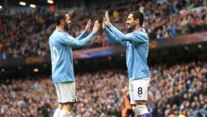 Манчестър Сити се доближи на три точки от Ливърпул след трудно първо и безпроблемно второ полувреме (видео)