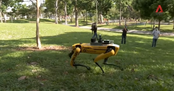 Куче-робот се грижи за спазването на социална дистанция в Сингапур (видео)