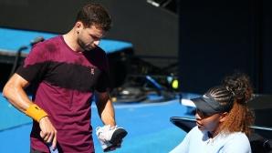 """Григор тренира със Серина Уилямс преди старта на """"Ролан Гарос"""""""
