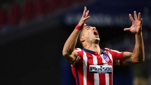 Луис Суарес не спира да бележи за Атлетико Мадрид (видео)