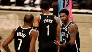 """Кайри и Дюрант спасиха Бруклин за първа победа в ерата на """"Голямото трио"""""""