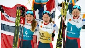 Норвежки спечелиха и трите медала в първото в историята състезание по северна комбинация на световно първенство