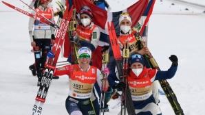 Норвегия спечели женската щафета, Терезе Йохауг завоюва трето злато на Световното