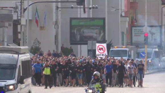 """Шествието на """"сините"""" по улиците на София"""