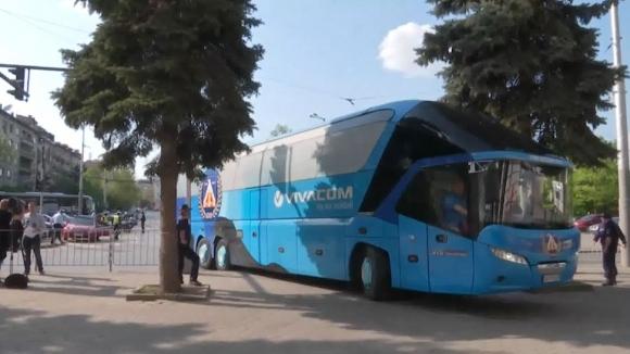 """Автобусът на """"сините"""" пристигна на Националния стадион"""