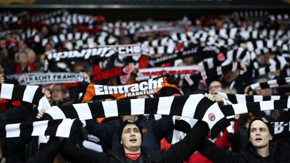 Невероятна подкрепа от феновете на Айнтрахт в мача с Шахтьор