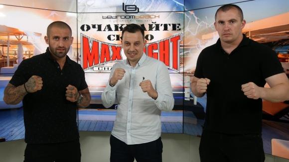 Детелин Далаклиев, Младен Манев и Григор Саруханян в студиото на Sportal.bg преди MAX FIGHT 43