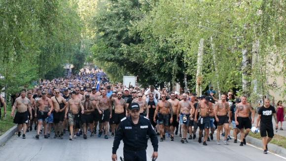 Шествието на левскарите във Велико Търново преди мача с Етър