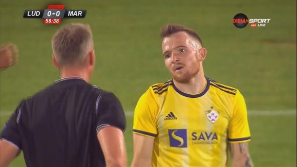 Марибор остана с човек по-малко след втори жълт картон на Дино Хотич